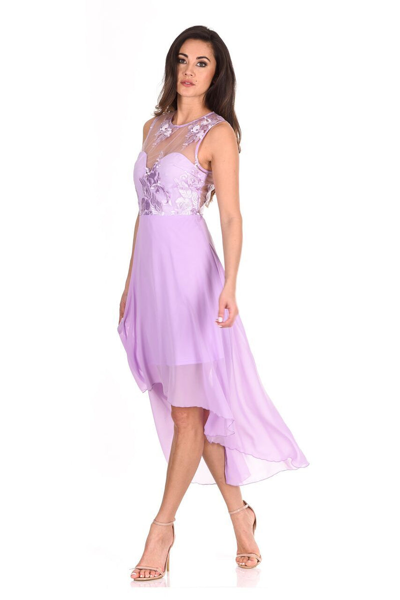 Lilac Embroidered Mesh Dipped Hem Dress
