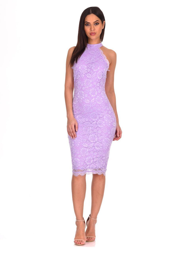 Lilac Halter Neck Lace Midi Dress