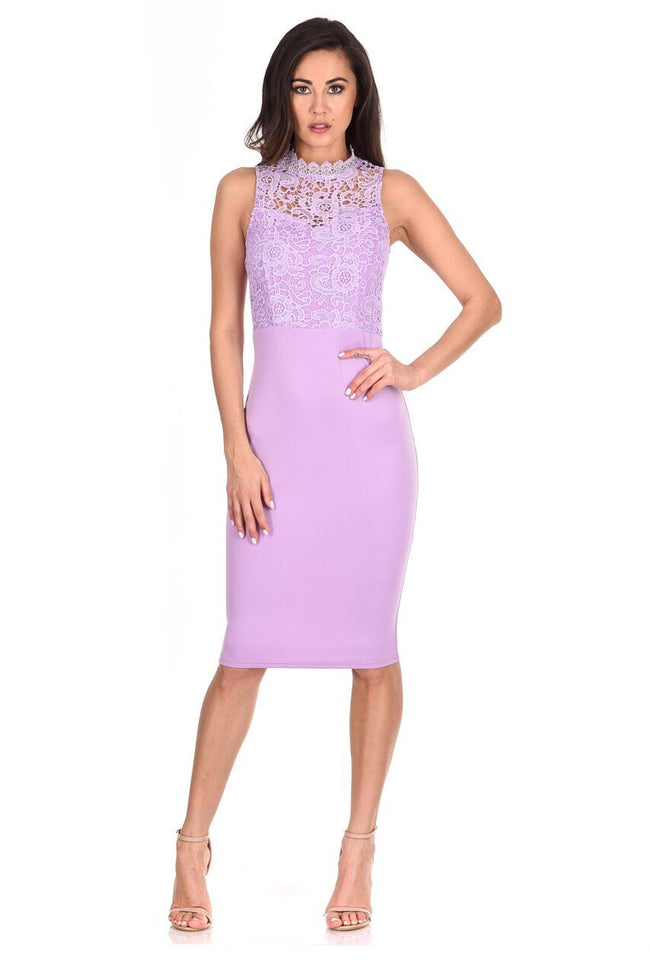 Lilac High Neck Crochet Bodycon Dress