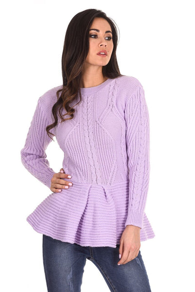 Lilac Peplum Knitted Jumper