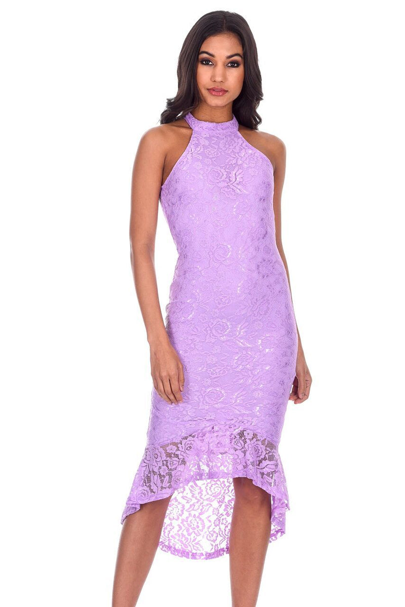 Lilac Lace Choker Neck Fishtail Hem Bodycon Dress