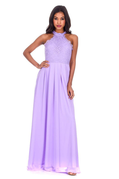 Lilac Lace Choker Neck Maxi Dress