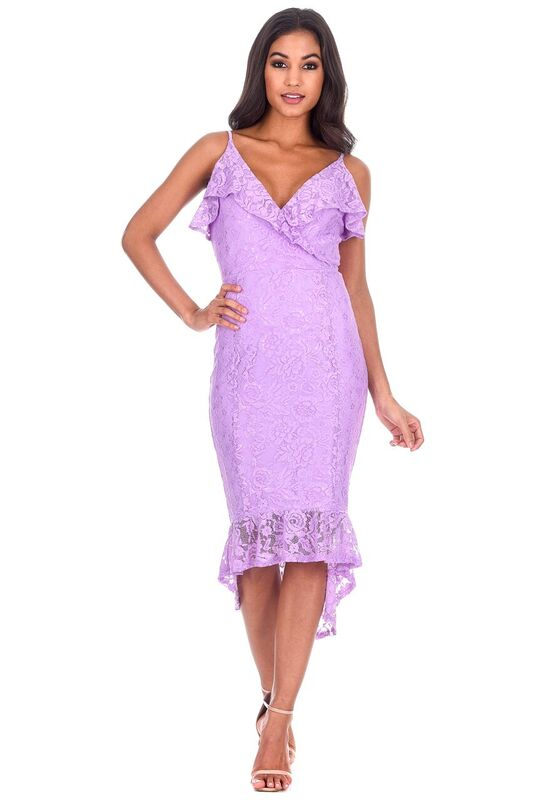 Lilac Lace Fishtail Hem Bodycon Dress