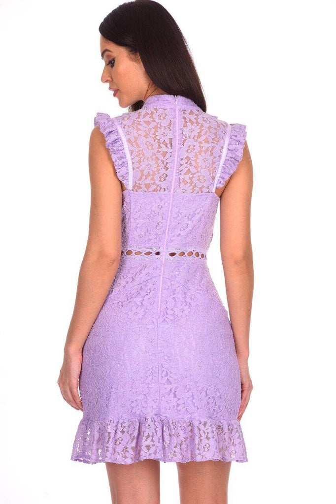 Lilac Lace Frill Detail Dress
