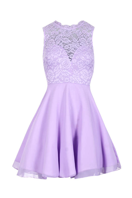 Lilac Lace Top Skater Dress