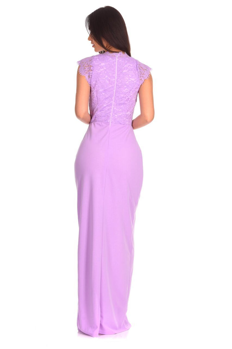 Lilac Lace Wrap Over Maxi Dress