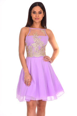 Lilac Mesh Gold Embroidered Skater Dress