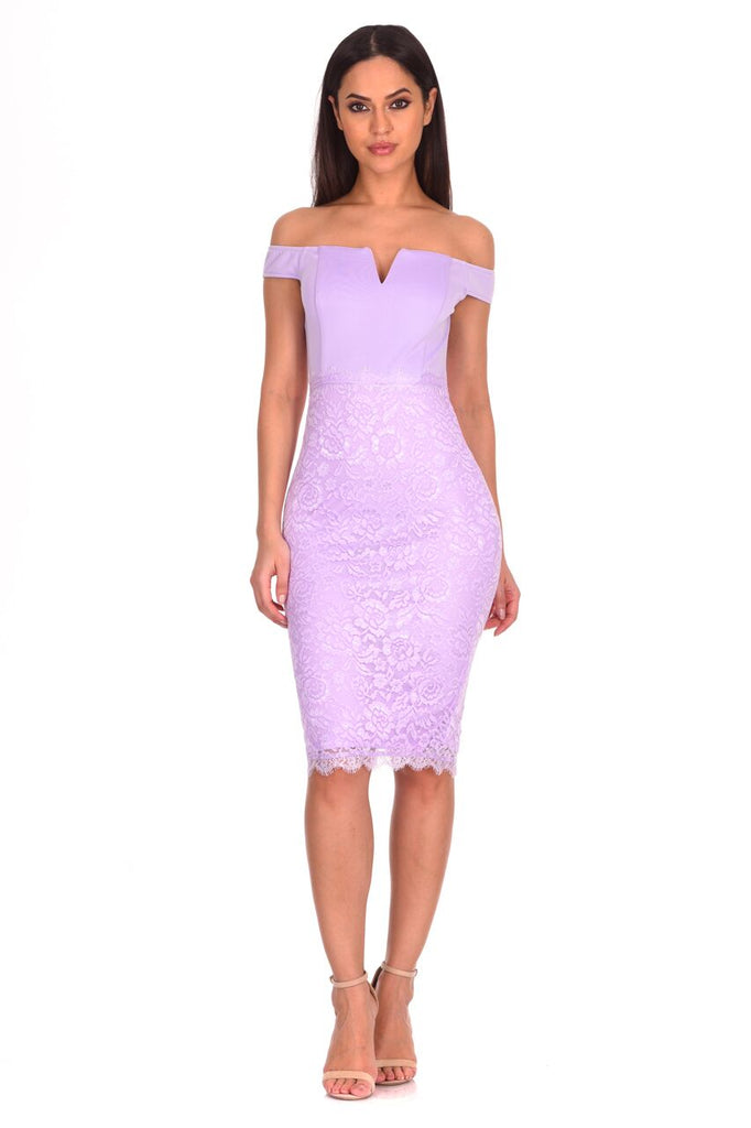 Lilac Notch Front Lace Detail Midi Dress