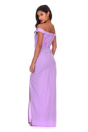 Lilac Notch Front Off The Shoulder Maxi dress