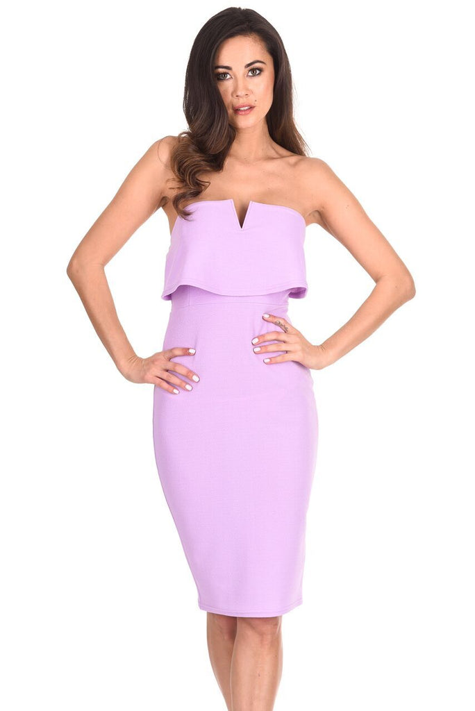 Lilac Notch Front Bodycon Dress