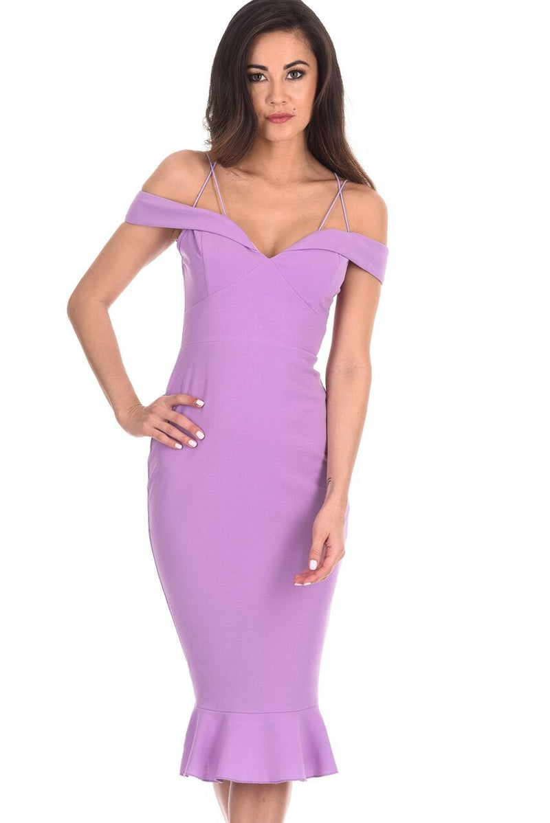 Lilac Off The Shoulder Fishtail Dress