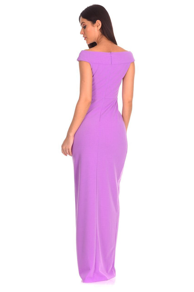 Lilac Off The Shoulder Side Split Maxi Dress