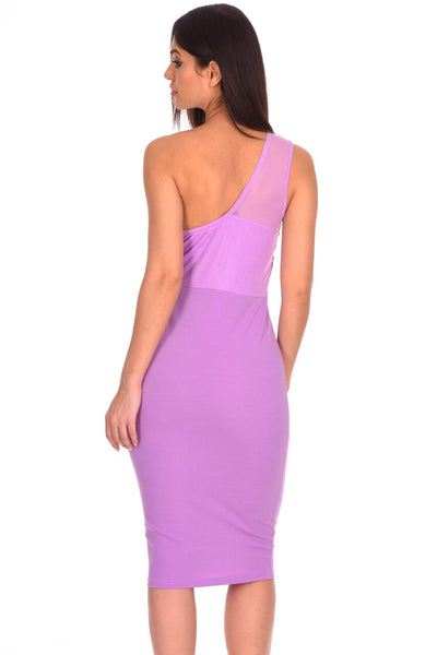 Lilac One Shoulder Sequin Embroidered Bodycon