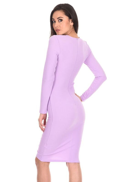 Lilac Ruched Sleeved Dress