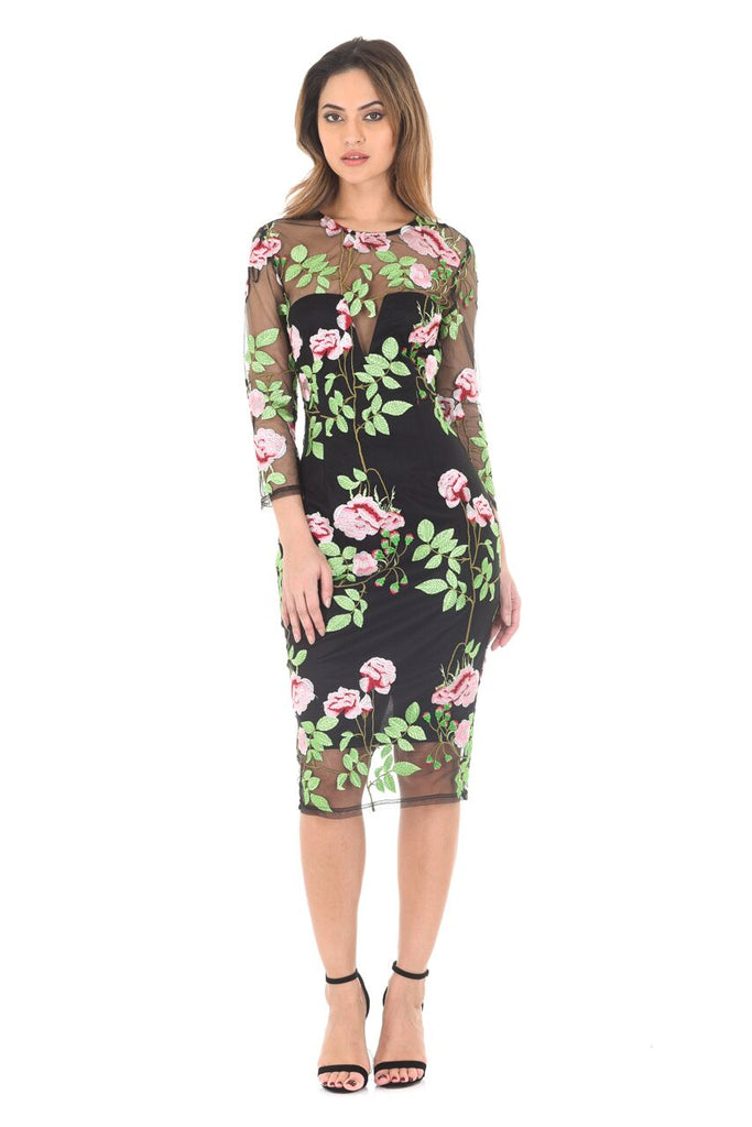 Long Sleeve Embroidered Floral Dress With � Mesh Sleeves