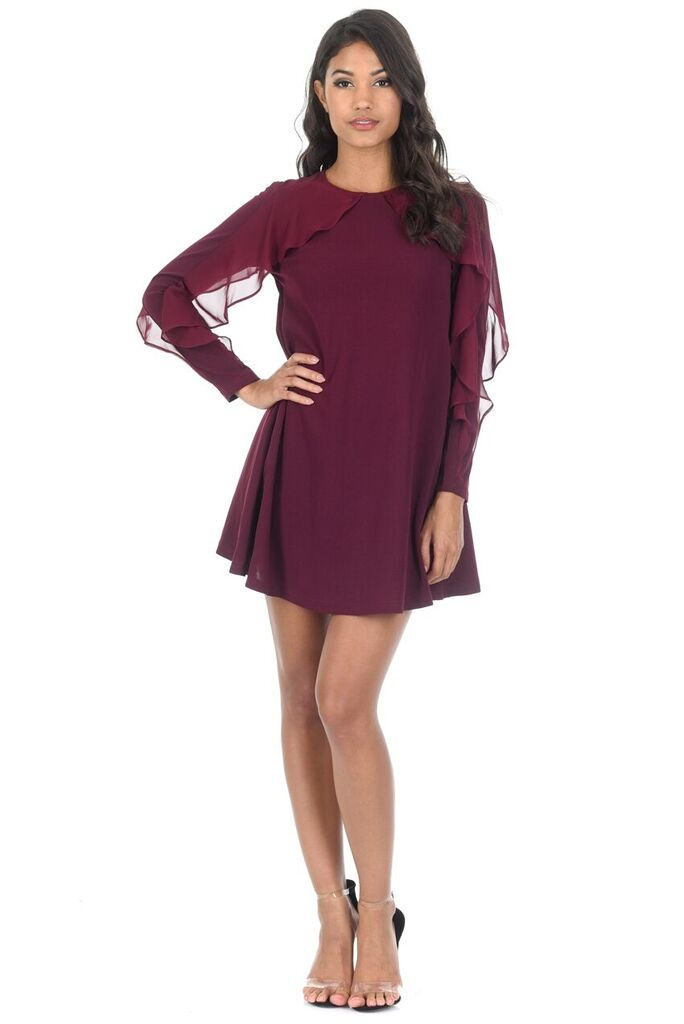 Plum Long Sleeve Frill Detail Swing Dress