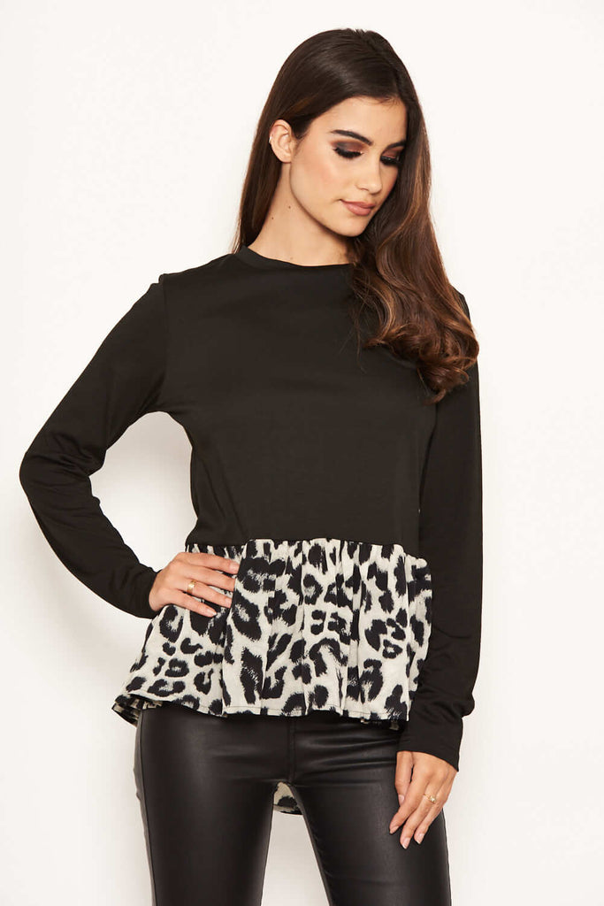 Long Sleeved Animal Print Peplum Top