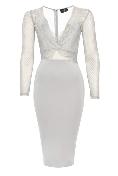 Long Sleeved Grey Bodycon With Lace Detail