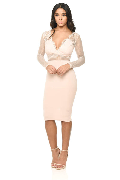 Long Sleeved Pink Bodycon With Lace Detail