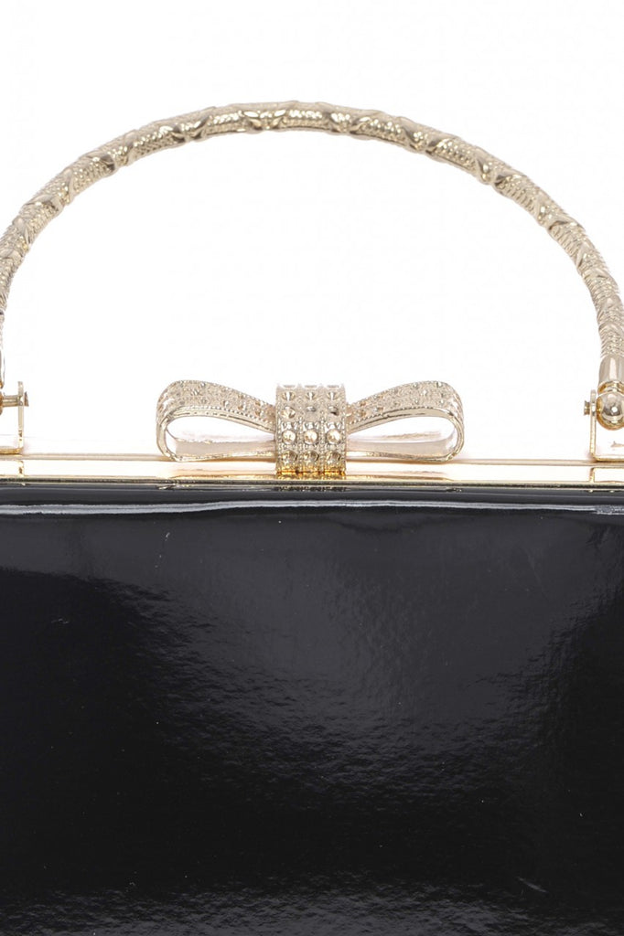 Detailed Handle  Patent Clutch Bag