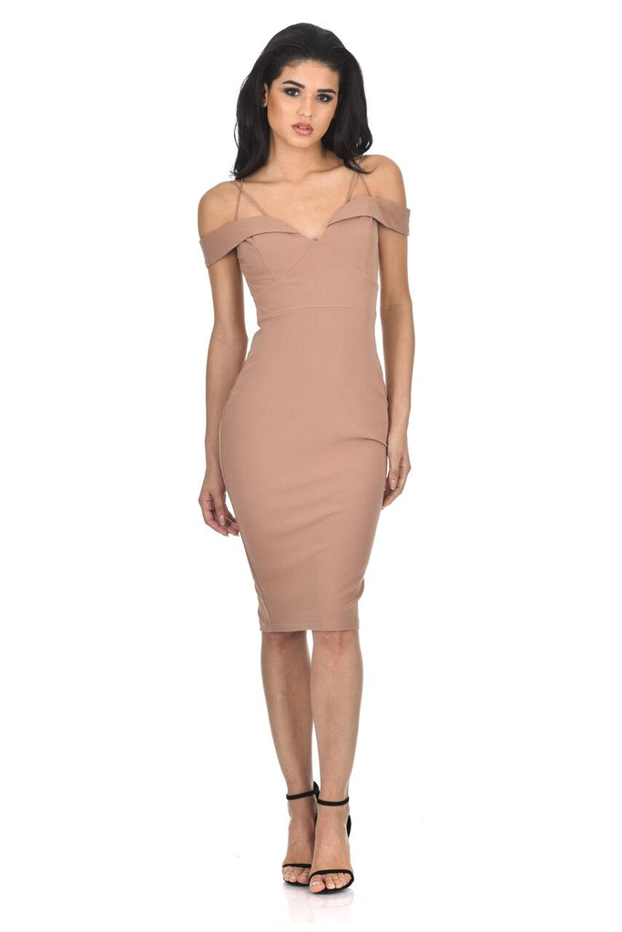 Mink Off The Shoulder Bodycon dress