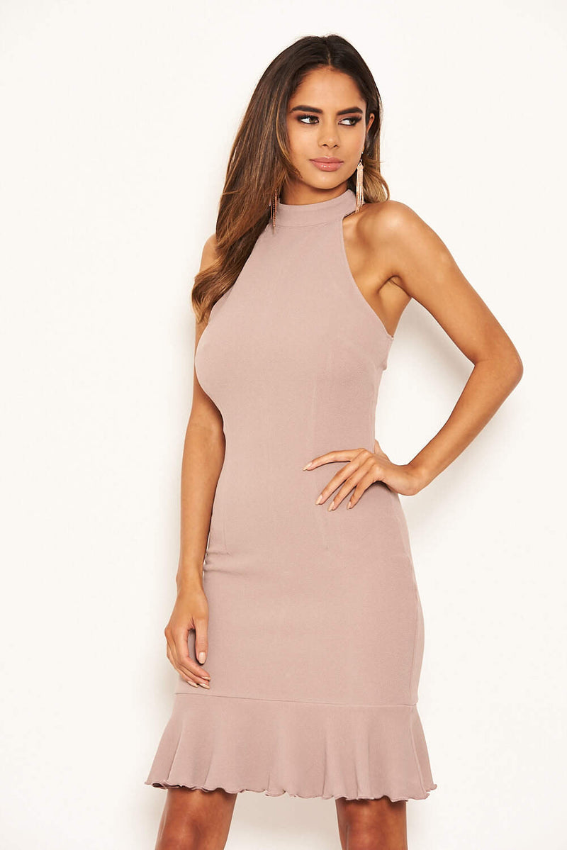Mushroom Cut In Neck Bodycon Frill Hem Dress