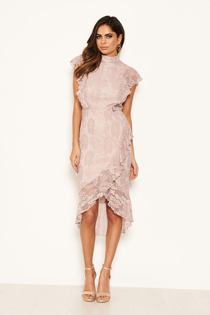 Mushroom Lace Fish Tail Frill Sleeve Midi Dress