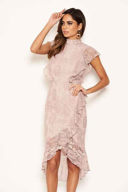 Plum Lace Long Sleeved Midi Dress