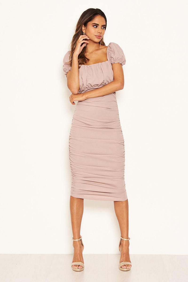 Mushroom Puff Sleeve Ruched Bodycon Midi Dress