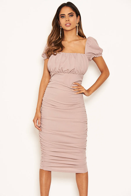Plum Cowl Neck Ruched Side Bodycon Midi Dress