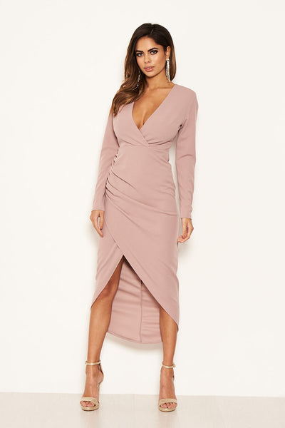 Mushroom Wrap Bodycon Ruched Dress