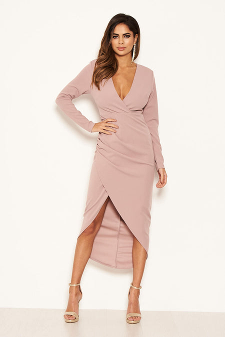 Plum Boat Neck Dress With Ruched Detail