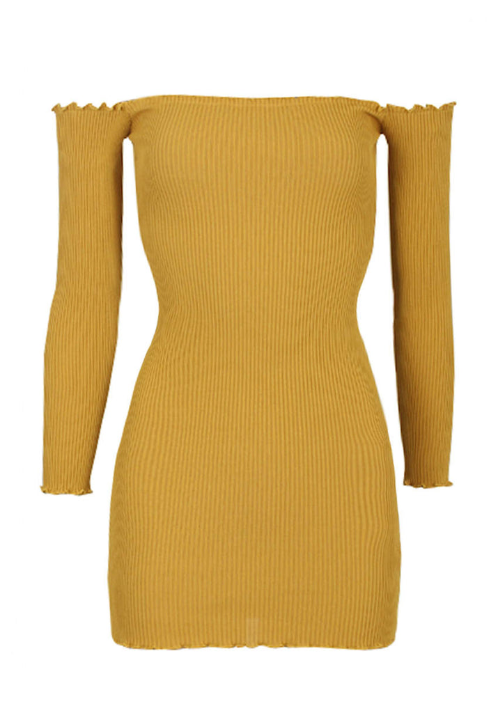 Mustard Bardot Ruffle Detail Knit Dress