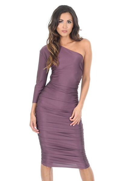 Mauve One Sleeve Slinky Midi Dress With Ruched Detail