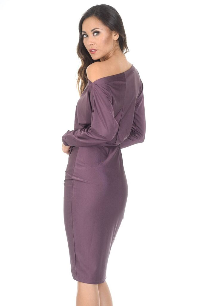 Mauve Relaxed Shoulder Wrapped Midi Dress
