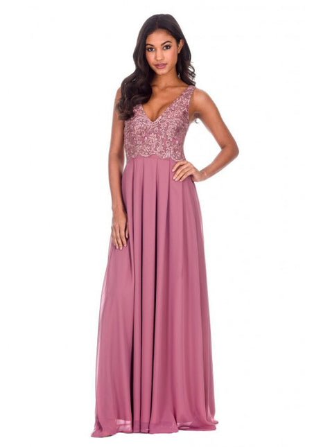 Plum V Front Lace Top Maxi Dress