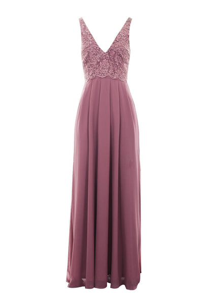 Mauve V Front Lace Top Maxi Dress