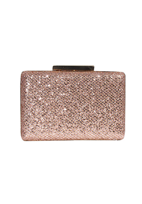 Mini Champagne Clutch With Gold Fastening