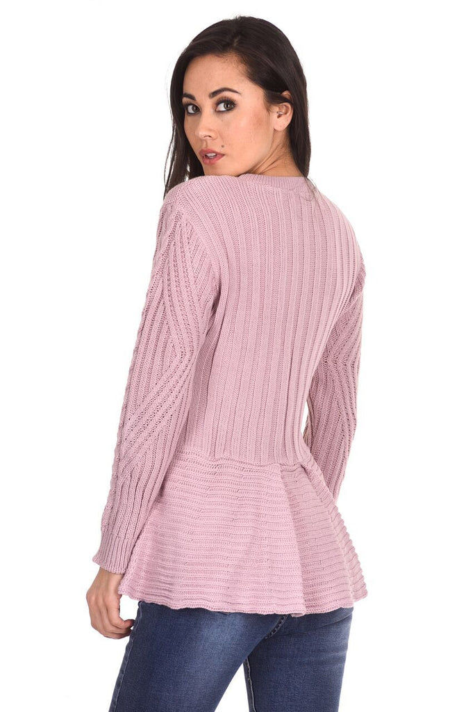 Pink Peplum Knitted Jumper