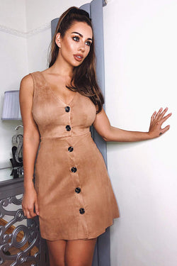 Mink Suede Button Front Dress