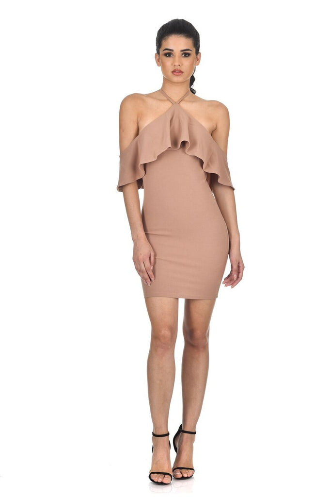 Mink Halterneck Frill Bodycon Dress