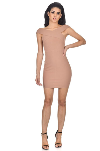 Mink Cross Off The Shoulder Mini Dress