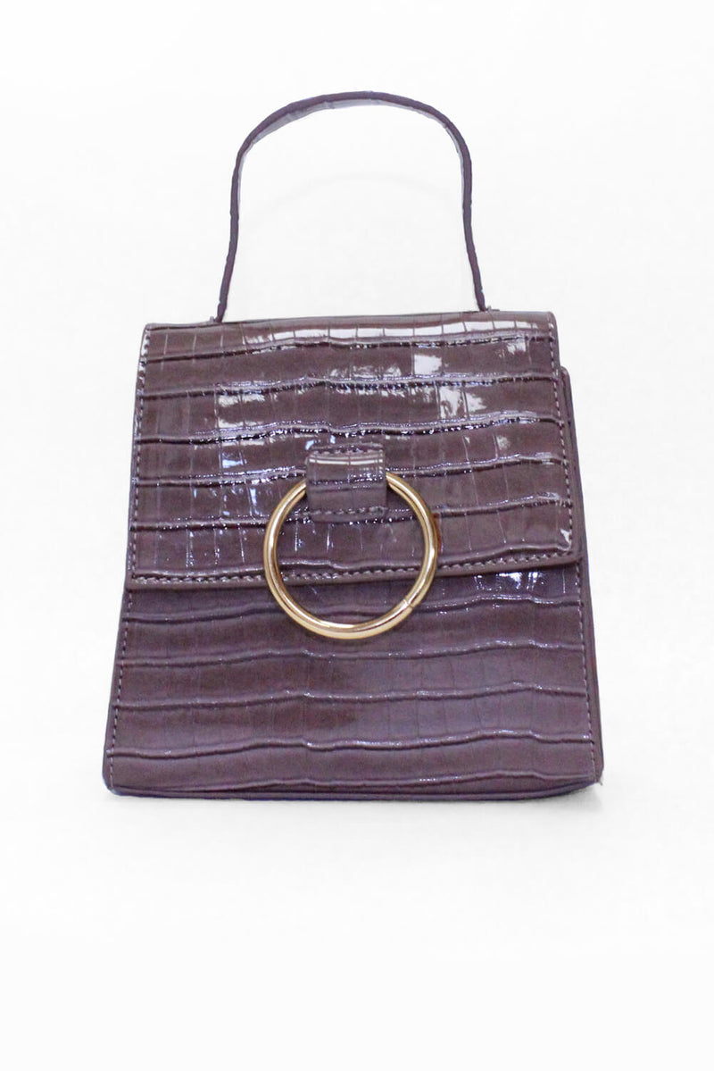 Mink Croc Mini Patent Bag With Gold Ring