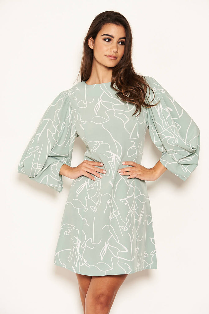 Mint Abstract Batwing Shift Dress