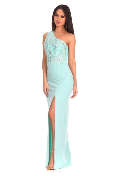 Mint Asymmetric Maxi Dress
