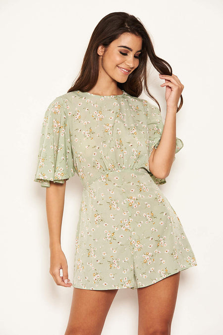Green Patterned Wrap Frill Mini Dress