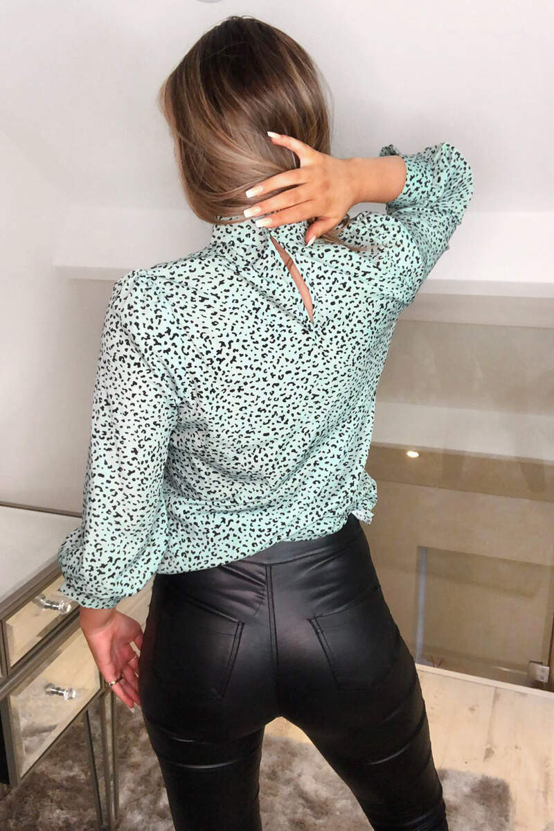 Mint Ditsy Leopard Printed High Neck Top
