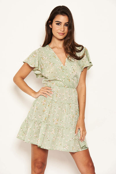 Mint Ditsy Print Summer Dress