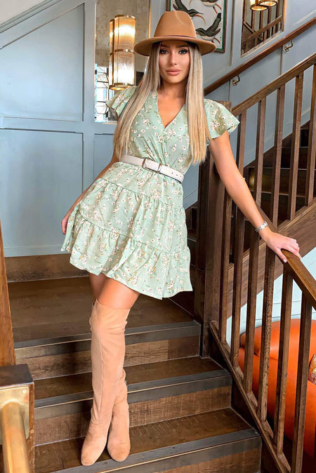 Green Polka Dot Frill Hem Dress