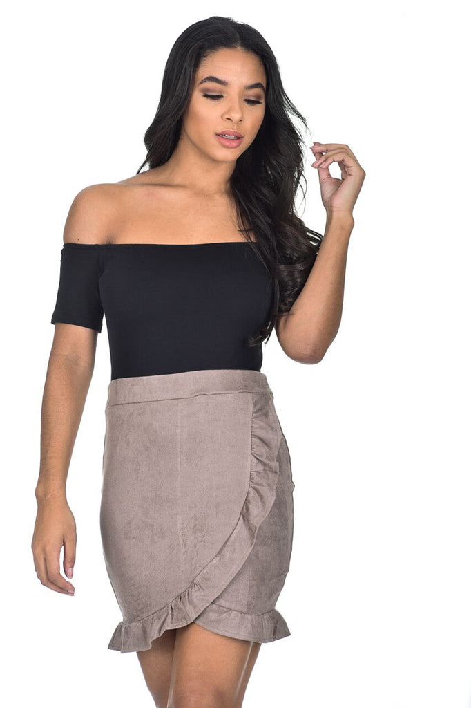Mocha Bardot 2 In 1 Frill Dress